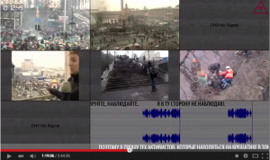 Videos from Euromaidan are synchronized to show numerous perspectives of an event.