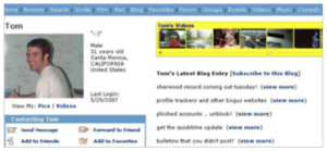 Screenshot from Tom from Myspace's profile